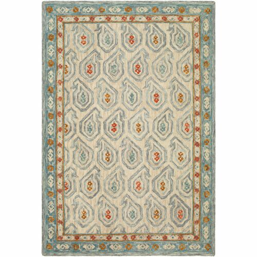 5' x 7.5' Paisley Patterned Gray and Green Rectangular Area Throw Rug - IMAGE 1