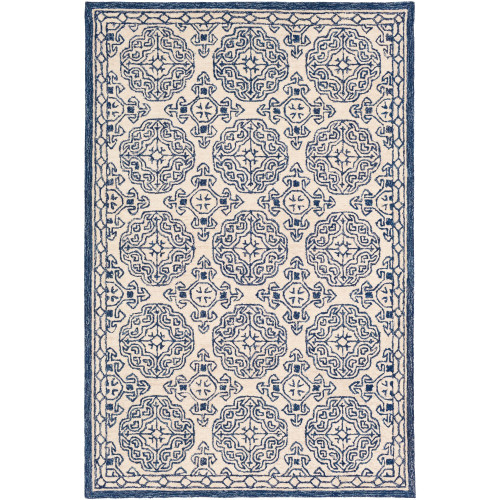 8' x 10' Medieval Style Blue and Ivory Rectangular Hand Tufted Wool Area Throw Rug - IMAGE 1