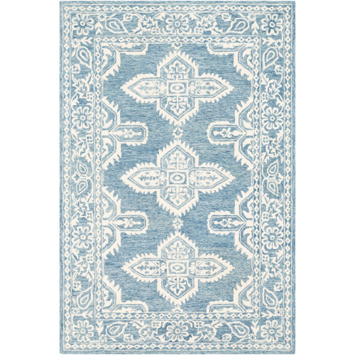 8' x 10' Southwestern Style Blue and Beige Rectangular Hand Tufted Wool Area Throw Rug - IMAGE 1