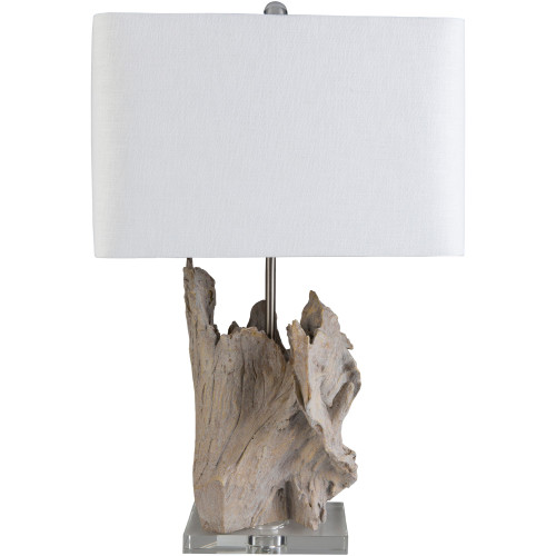 """26.25"""" Distressed Finish Table Lamp with White Linen Shade - IMAGE 1"""