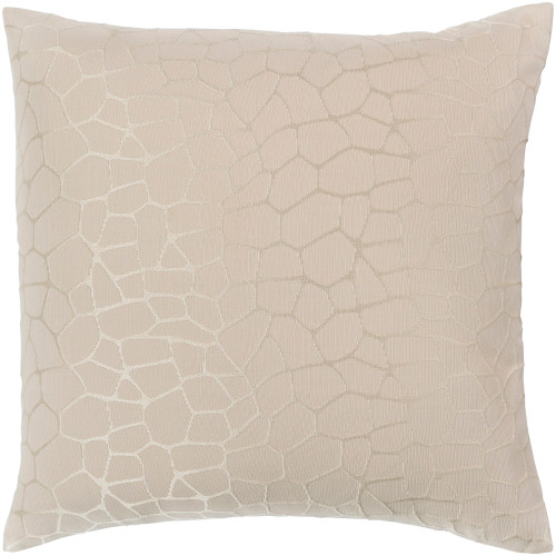 """22"""" Beige and Brown Square Jacquard Throw Pillow Cover with Knife Edge - IMAGE 1"""
