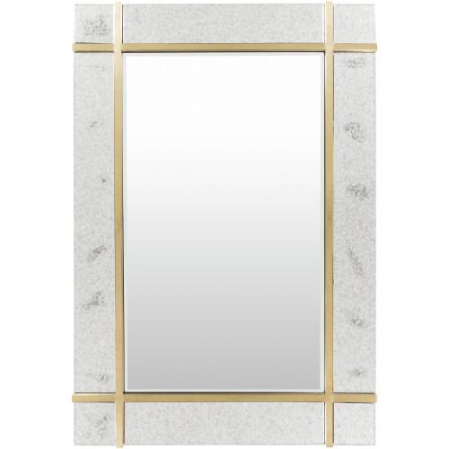 "48"" Antiqued Beveled Rectangular Mirror with Color Gold Frame - IMAGE 1"