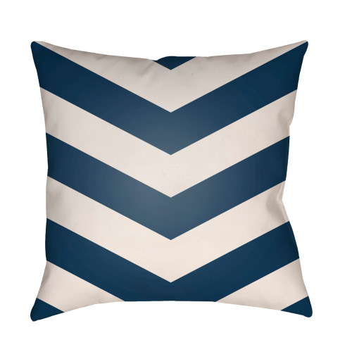 "20"" Navy Blue and White Chevron Patterned Square Throw Pillow Cover - IMAGE 1"