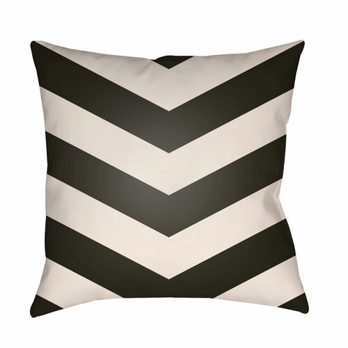 "20"" Coal Black and White Chevron Patterned Square Throw Pillow Cover - IMAGE 1"