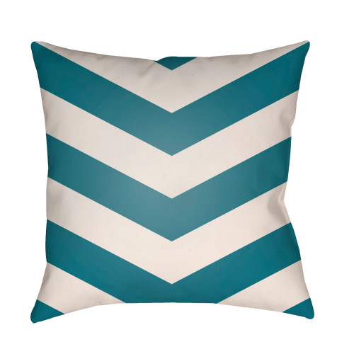 """20"""" Ocean Blue and White Chevron Patterned Square Throw Pillow Cover - IMAGE 1"""