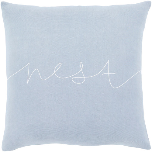 """20"""" Blue and White """"Nest"""" Printed Square Throw Pillow Cover - IMAGE 1"""