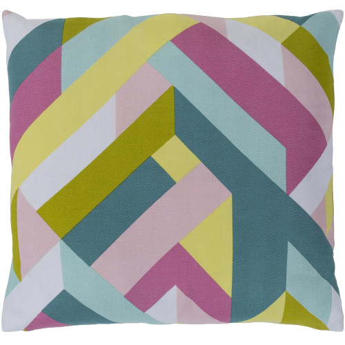 """20""""  Pink and Green Geometric Patterned Square Woven Throw Pillow - Polyester Filler - IMAGE 1"""