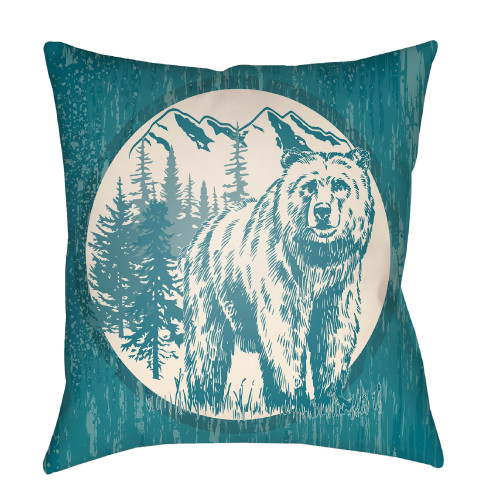 "22"" Ocean Blue and Ivory Polar Bear Printed Square Throw Pillow Cover - IMAGE 1"