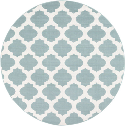 """5'3"""" Trellis Pattern Blue Haze and Bright White Round Synthetic Area Rug - IMAGE 1"""