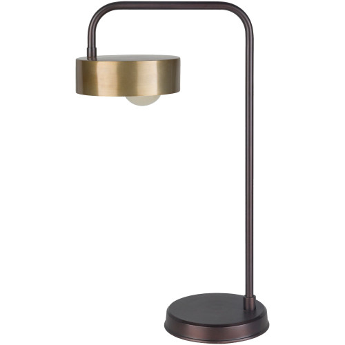 """25.5"""" Contemporary Style Bronze and Black Table Lamp with Gold Colored Shade - IMAGE 1"""