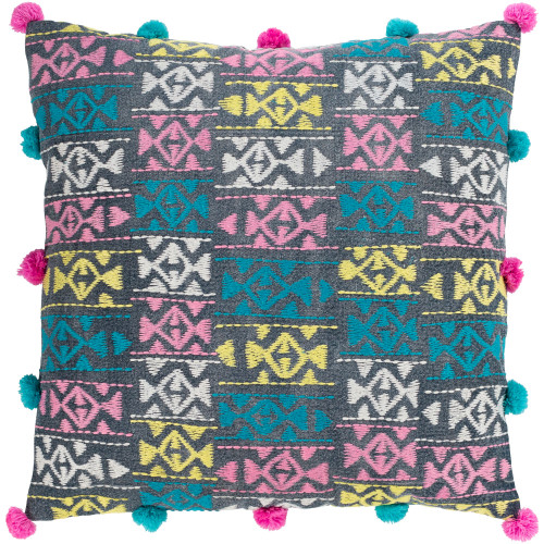 """22"""" Gray Embroidered and Printed Square Throw Pillow Cover with Bobbles - IMAGE 1"""