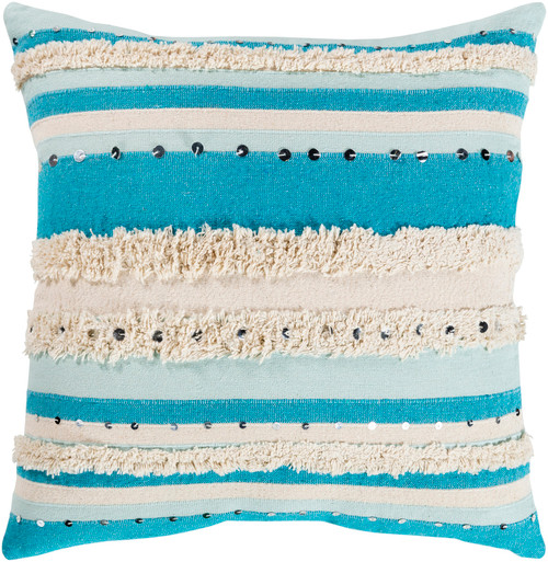 """20"""" Aqua and Cream Striped Pattern Square Throw Pillow - Poly Filled - IMAGE 1"""