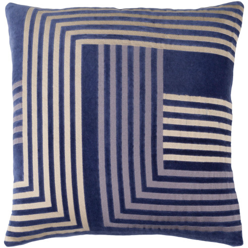 """20"""" Ensign Blue and Beige Modern Square Throw Pillow Cover - IMAGE 1"""