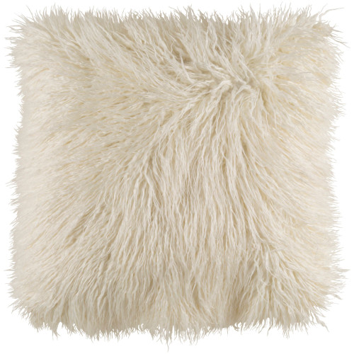 """22"""" White Faux Fur Designed Square Throw Pillow Cover - IMAGE 1"""