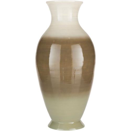 "22.75"" Chocolate Brown and White Glossy Finish Bamboo Vase - IMAGE 1"