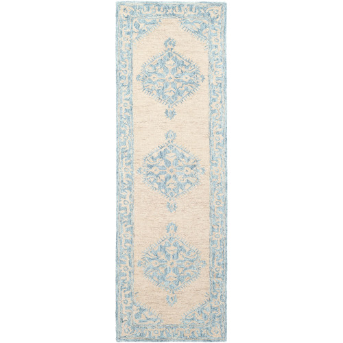 2.5' x 8' Classic Style Teal Blue and Beige Rectangular Wool Area Rug Runner - IMAGE 1