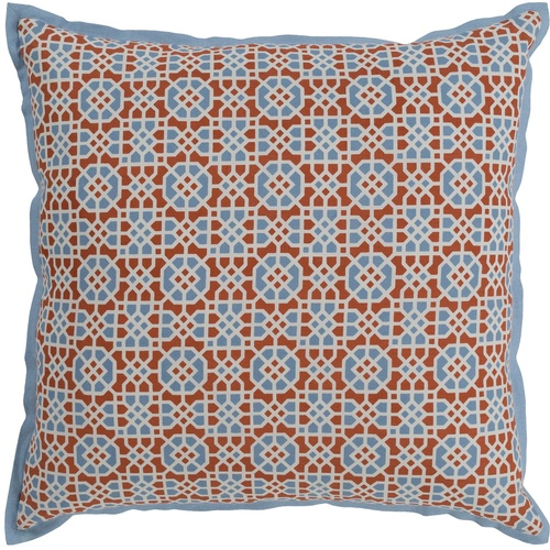 """20"""" Orange and Blue Square Woven Throw Pillow Cover with Flange Edge - IMAGE 1"""