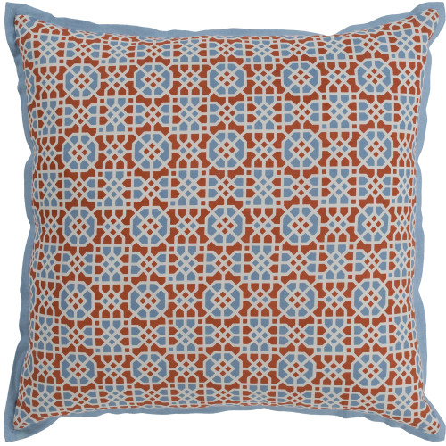 "18"" Orange and Blue Square Woven Throw Pillow Cover with Flange Edge - IMAGE 1"