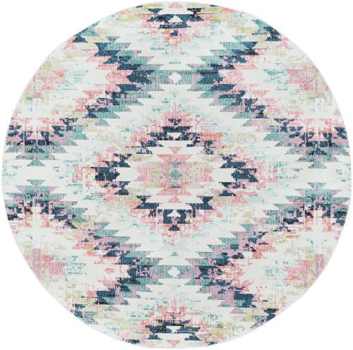 5.25' Geometric Patterned Orange and Blue Round Area Throw Rug - IMAGE 1