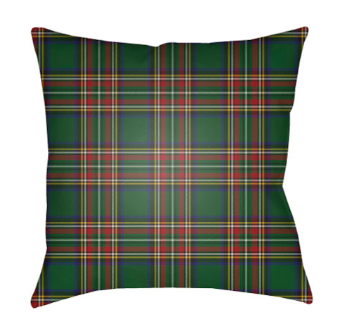 "20"" Green and Red Plaid Square Throw Pillow Cover with Knife Edge - IMAGE 1"