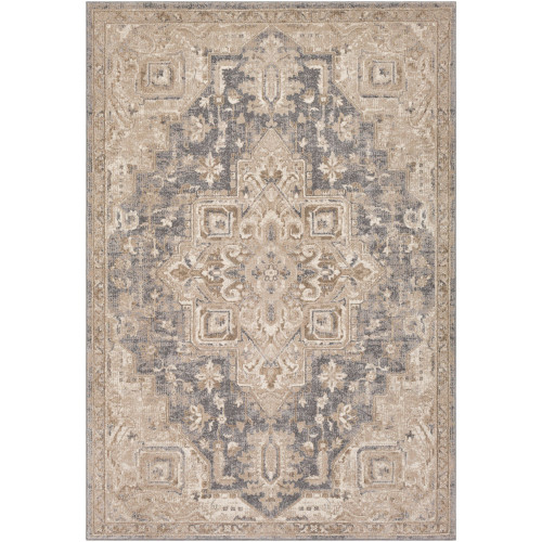 5' x 8' Distressed Beige and Charcoal Black Rectangular Area Throw Rug - IMAGE 1