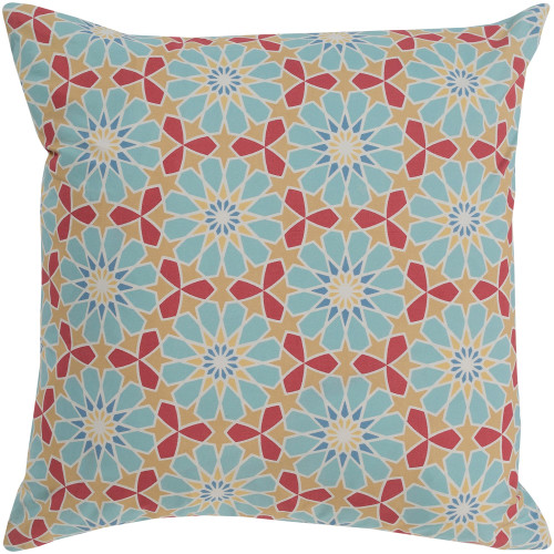 """20"""" Beige and Blue Square Woven Throw Pillow Cover with Knife Edge - IMAGE 1"""