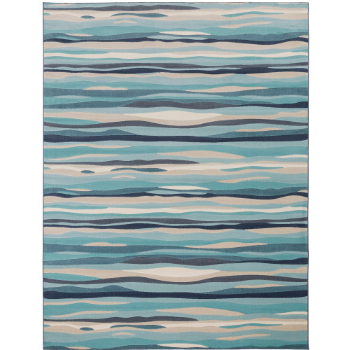 "9'3"" x 12'3"" Waves Pattern Blue and Ivory Rectangular Polypropylene Area Throw Rug - IMAGE 1"