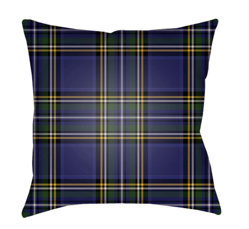 """20"""" Blue and Green Plaid Square Throw Pillow Cover with Knife Edge - IMAGE 1"""