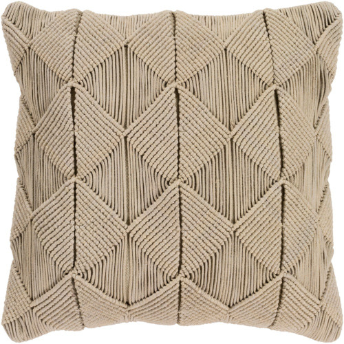 """22"""" Brown Macrame Pattern Square Throw Pillow Cover - IMAGE 1"""