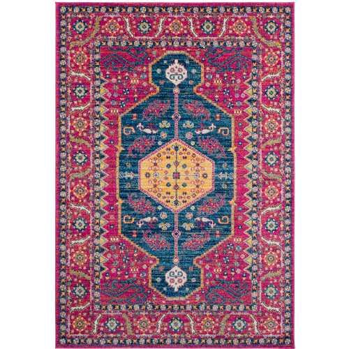 """5'3"""" x 7'3"""" Contemporary Patterned Bright Pink and Blue Rectangular Polypropylene Area Throw Rug - IMAGE 1"""