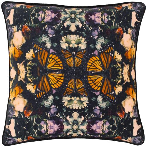 "22"" Black and Orange Digitally Printed Botanical Square Throw Pillow Cover - IMAGE 1"