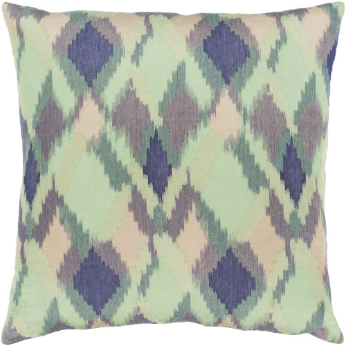 """18"""" Green and Blue Geometric Pattern Square Throw Pillow Cover with Knife Edge - IMAGE 1"""
