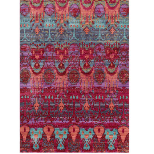 2' x 3' Medieval Pattern Purple and Pink Wool Area Rug - IMAGE 1