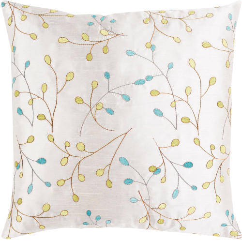 """18"""" White with Embroidered Leaves Woven Square Throw Pillow Cover - IMAGE 1"""