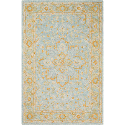 8' x 10' Leaf Medallion Pattern Beige and Yellow Rectangular Hand Tufted Wool Area Throw Rug - IMAGE 1