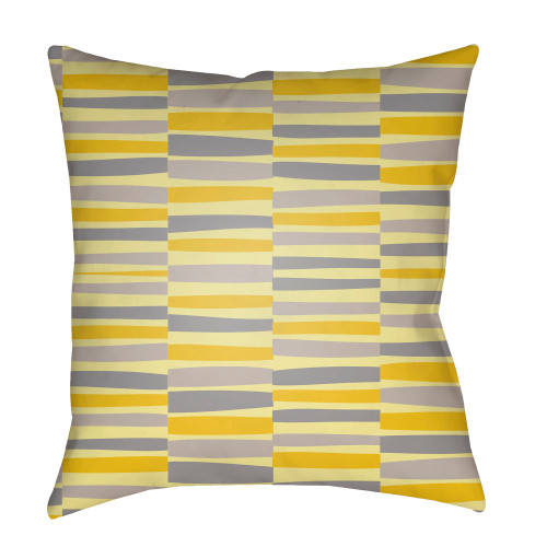 """22"""" Yellow and Gray Square Throw Pillow Cover with Knife Edge - IMAGE 1"""