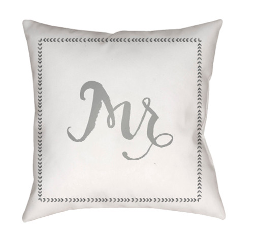 """20"""" White and Gray """"Mr"""" Digitally Printed Square Throw Pillow Cover - IMAGE 1"""