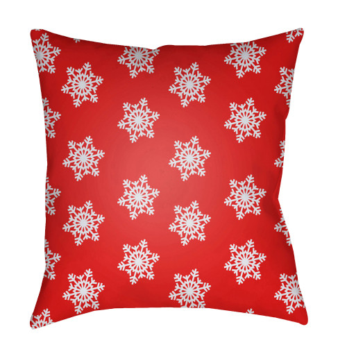 """20"""" Red and White Snowflakes Printed Throw Pillow Cover - IMAGE 1"""