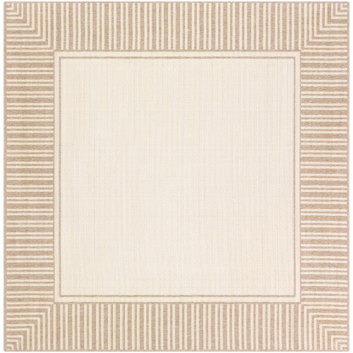 7.25' Solid Beige and Brown Square Area Throw Rug - IMAGE 1