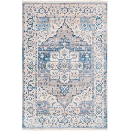 2' x 3' Floral Mosaic Design Light Blue and Beige Machine Woven Area Rug - IMAGE 1