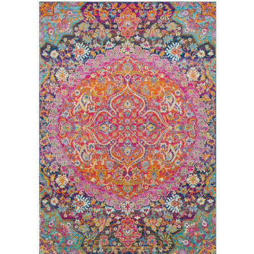 """5'3"""" x 7'3"""" Mandala Floral Vibrantly Colored Synthetic Rectangular Area Throw Rug - IMAGE 1"""