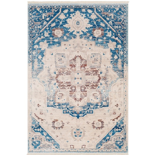 2' x 3' Cross Mosaic Design Blue and Beige Machine Woven Area Rug - IMAGE 1