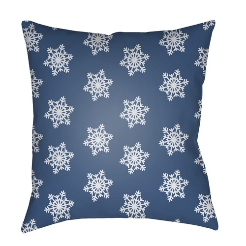 """20"""" White and Blue Snowflakes Printed Throw Pillow Cover - IMAGE 1"""