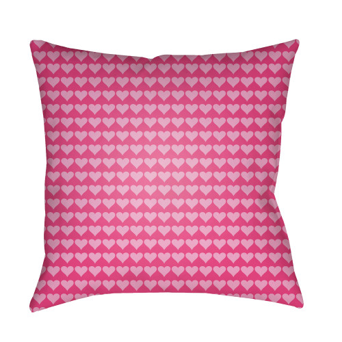 """22"""" Pink Heart Printed Square Throw Pillow Cover with Knife Edge - IMAGE 1"""