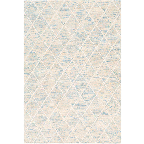 2' x 3' Diamond Pattern Ivory and Blue Wool Area Rug - IMAGE 1