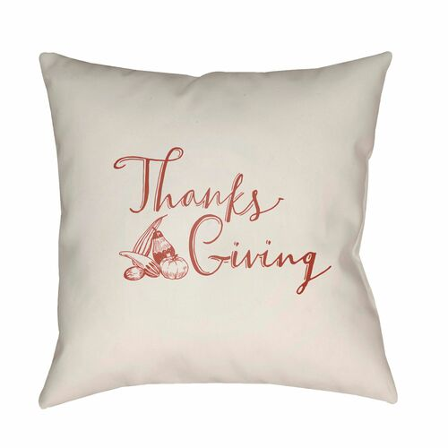 """20"""" White and Red """"Thanks Giving"""" Printed Square Throw Pillow Cover - IMAGE 1"""