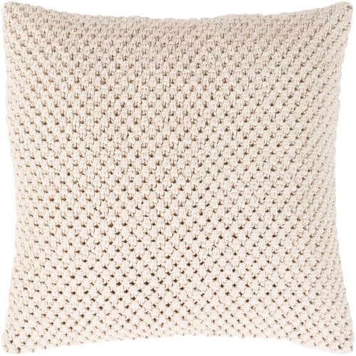 """22"""" Ivory Crochet Patterned Square Throw Pillow Cover - IMAGE 1"""