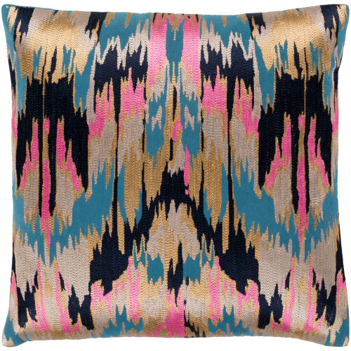 """22"""" Black and Golden Color Machine Embroidered Square Throw Pillow Cover - IMAGE 1"""