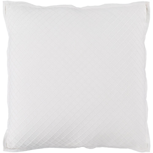 "18"" Powder White Diamond Embroidered Throw Pillow - Down Filler - IMAGE 1"