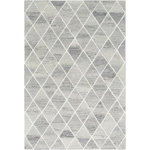 2' x 3' Light Gray Diamond Pattern Rectangular Hand Tufted Rug - IMAGE 1